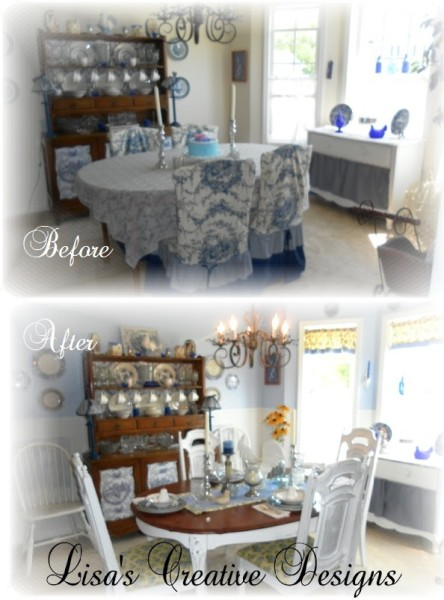 Before and After Country Cottage Style Dining Room Makeover