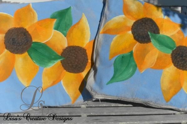 Hand Painted Sunflower Pillows