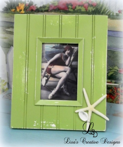 lime green beachy picture frame