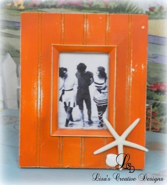 orange beachy picture frame