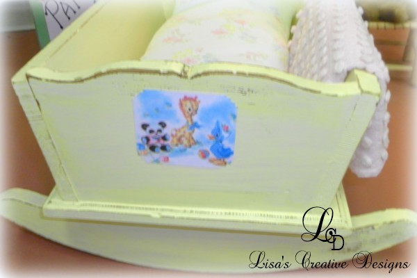 yellow upcycled doll cradle