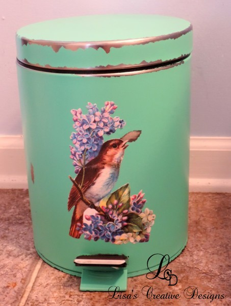 A Generic Trash Can Gets A Cottage Syle Makeover