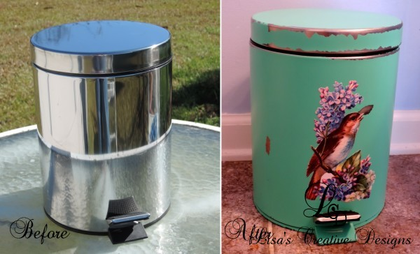 Before and After Trash Can Makeover