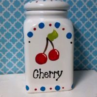 Hand Painted Cherry Kitchen Canister