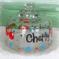Hand Painted Cherry Cheeseball Dish