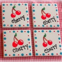Hand Painted Cherry Ceramic Tile Country Coaster Set