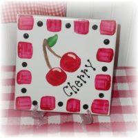 Hand Painted Cherry Ceramic Tile Trivet