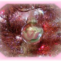 Shabby Cottage Rose Christmas Tree Ornament
