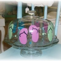 Hand Painted Flip Flop Domed Cake Stand