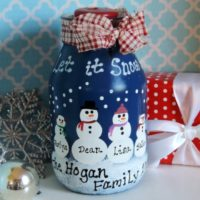 Personalized Country Snowman Jar Candle