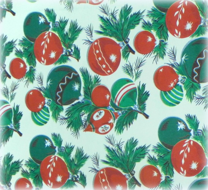 Retro vintage christmas ornament wrapping paper for Christmas craft wrapping paper