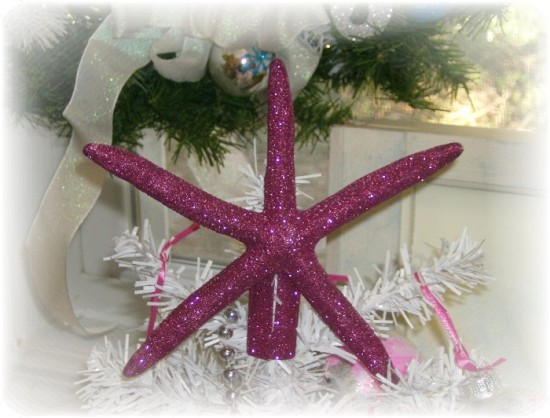 Handmade Glittered Starfish Christmas Tree Topper