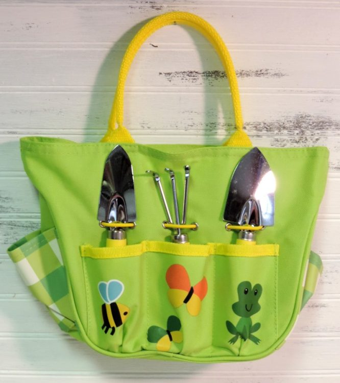 Lime green children 39 s garden tote and tool bag for Small garden tool carrier