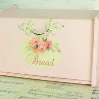 Pink Shabby Chic Cottage Bread Box