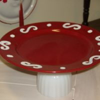 Upcycled Country Red Cake Plate