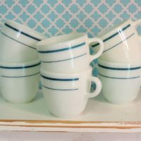 Vintage Aqua Blue and White Anchor Hocking Diner Coffee Cups