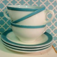 Vintage Aqua Blue and White Diner Style Coffee Cups