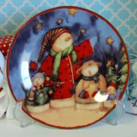 Country Snowman Christmas Plate