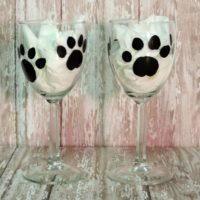 Hand Painted Paw Print Wine Glasses