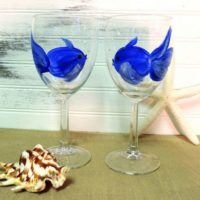 Hand Painted Blue Fish Wine Glasses