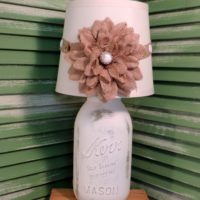 French Country White Mason Jar Lamp with Burlap Floral Shade