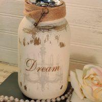 Glittered Shabby Chandelier DREAM Jar Candle Holder (1)