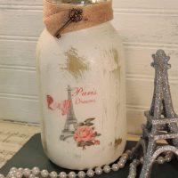 Glittered Paris Eiffel Tower Jar Candle Holder