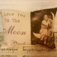 I Love You To The Moon and Back Vintage Pillow