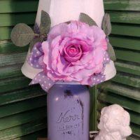 Shabby Chic Purple Mason Jar Lamp With Romantic Rose Shade