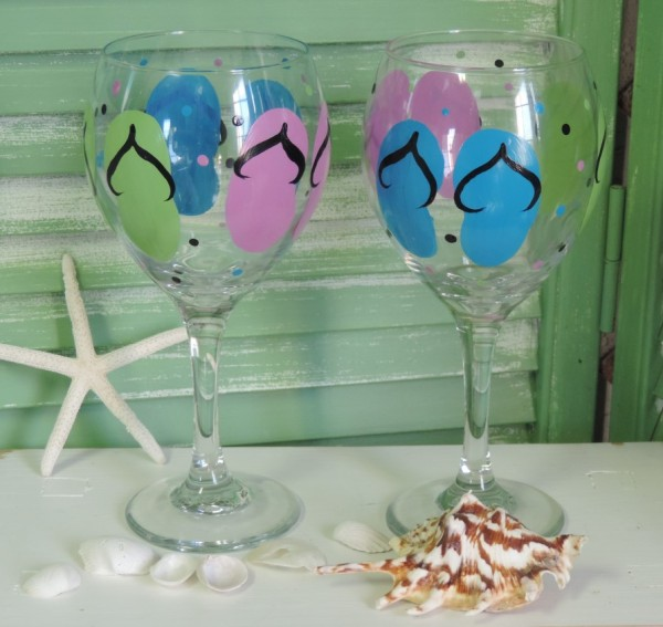 Hand Painted Wine Glasses