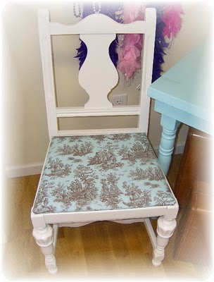 Shabby Chic Chair With Turquoise Toile Seats