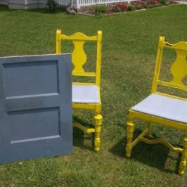 Flea Market Chairs + An Old Door +Creativity and Elbow Grease = A Cottage Style Bistro Set!