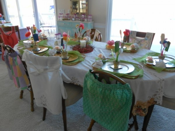 kitchen bridal shower table setting