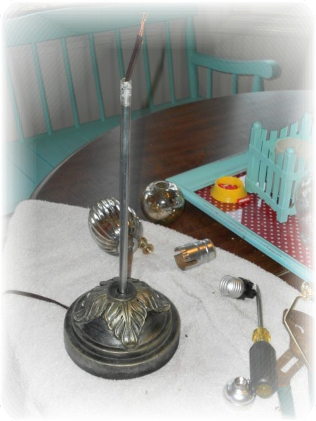 mercury glass lamp makeover