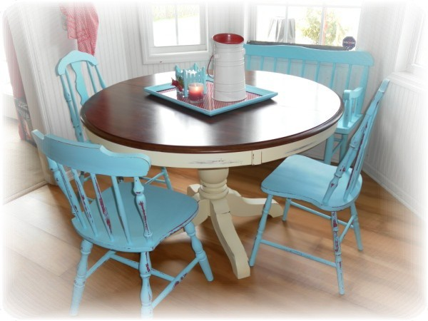 Red and turquoise country kitchen construction haven for Teal kitchen table