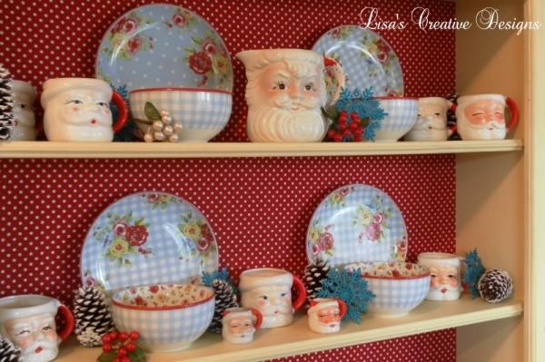 Vintage winking Santa pitcher and mug set