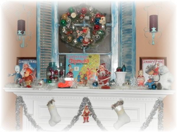Vintage Kitsch Christmas Mantel