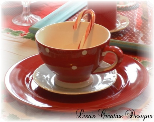 Red and White Polka Dotted Mugs