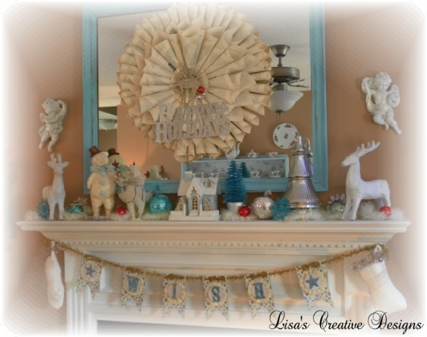 Vintage Inspired Christmas Mantel