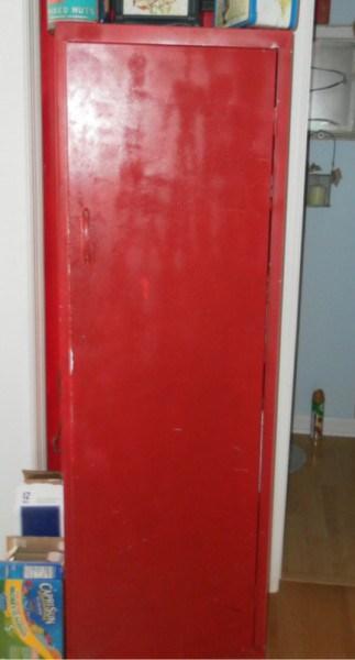red metal pantry
