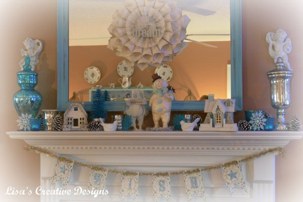 winter inspired mantel