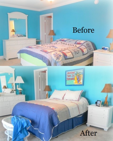 Before and After Beach Inspired Bedroom