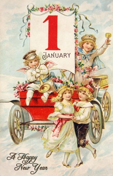 Welcoming A New Year with a Vintage New Year Postcard