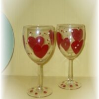 Hand Painted Valentine's Day Wine Glasses