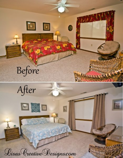 Before and After Vacation Beach Master Bedroom Staging Emerald Isle, NC