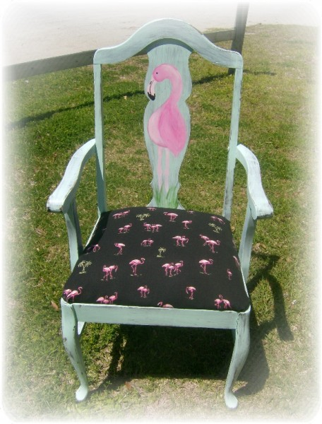 Hand Painted Furniture Flamingo Chair