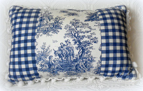 French Blue Toile Accent Pillow