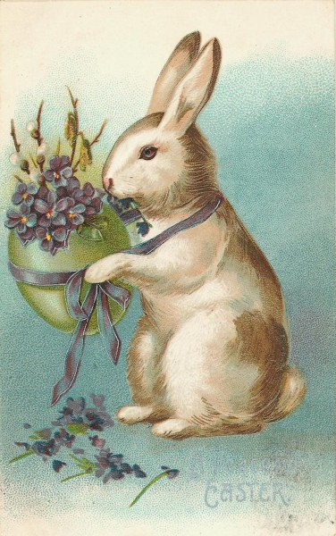 Vintage Victorian Easter Bunny Card