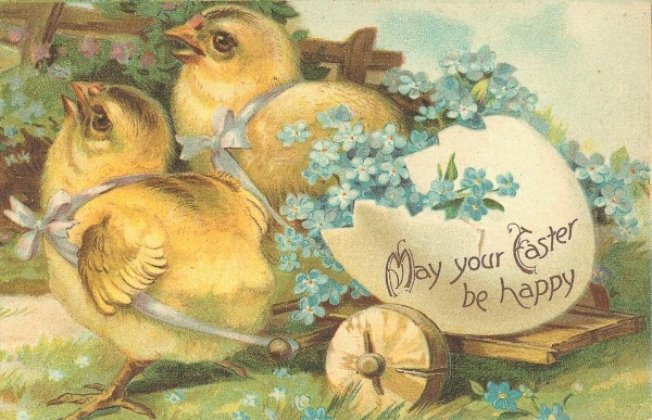 vintage easter chicks card