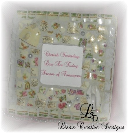 crafting with vintage tea cups broken china mosaic frame